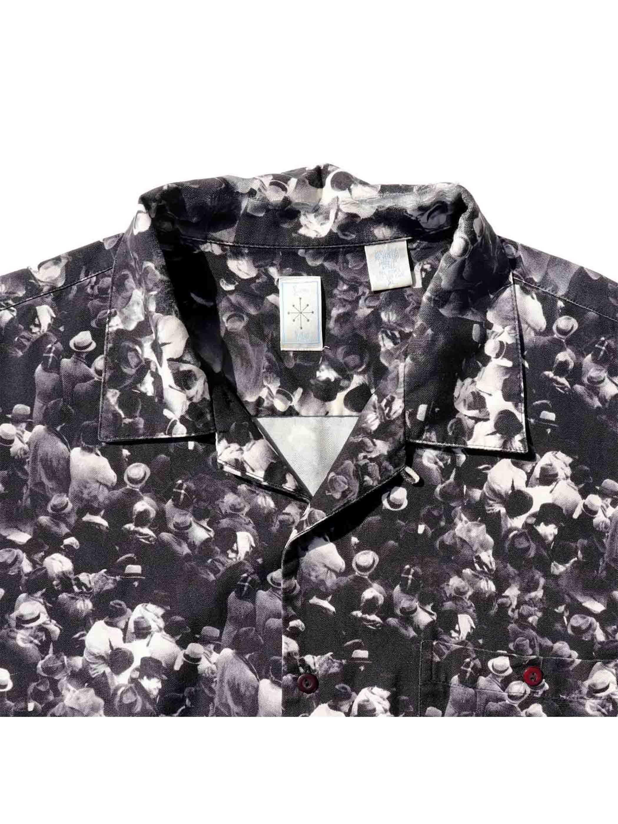90's~ BURMA BIBAS 群集フォト シルク オープンカラーシャツ [XL]