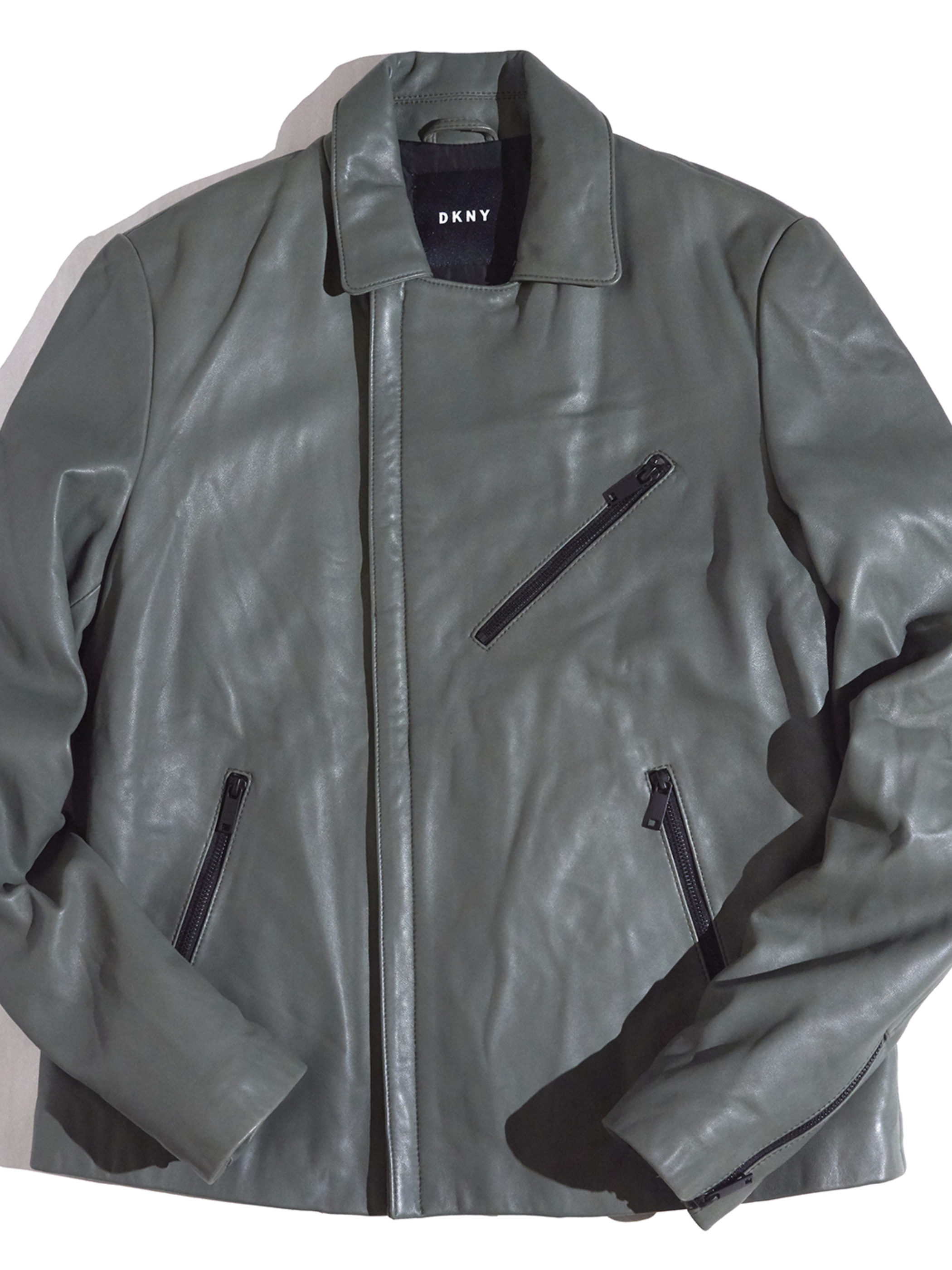 """2017y """"DKNY"""" smooth leather riders jacket -GRAY-"""