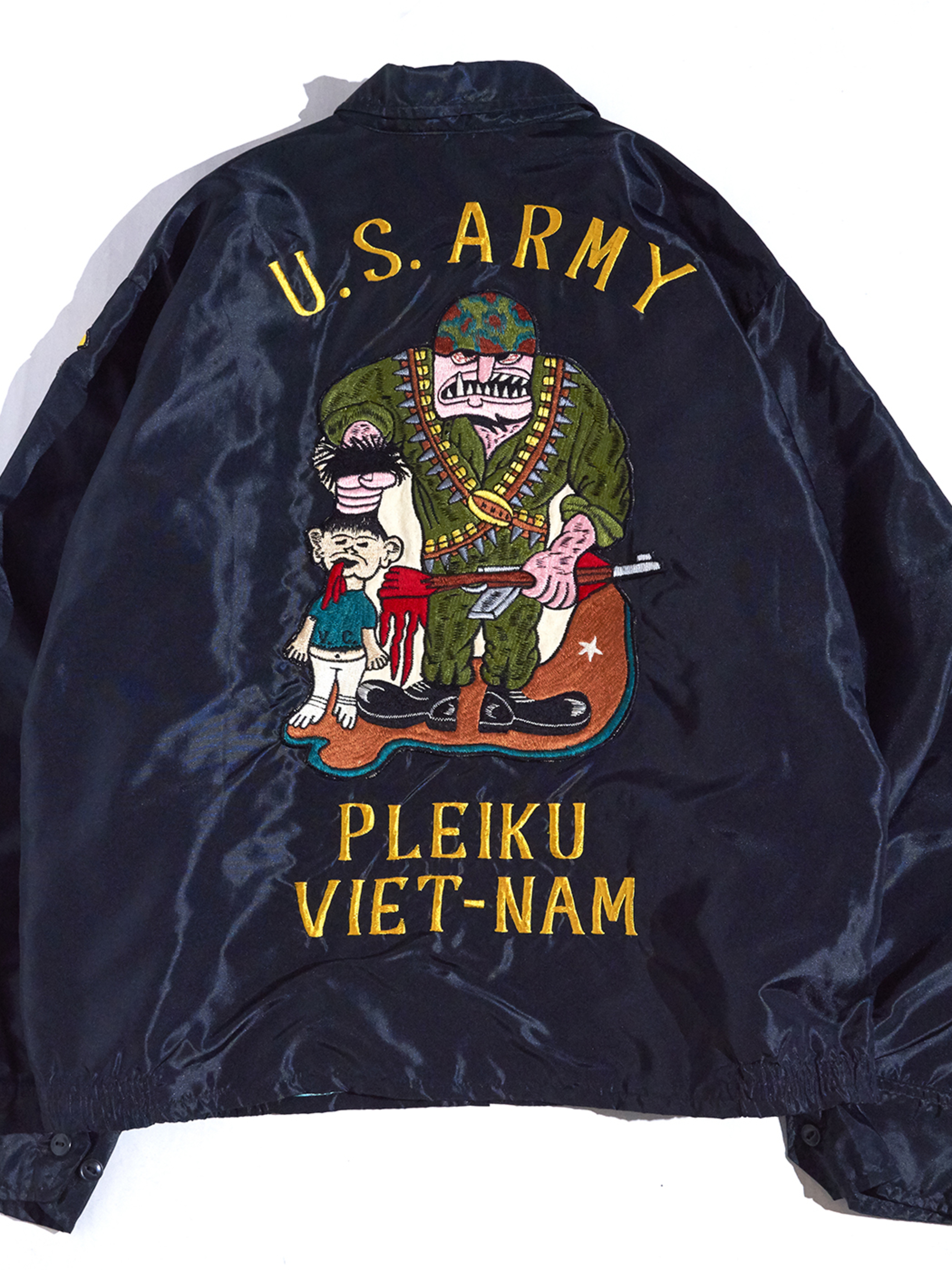 "1960s ""US ARMY"" VIETNAM souvenir jacket -BLACK-"