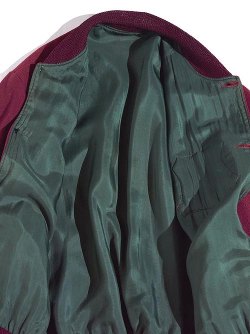 """1950s """"unknown"""" button award jacket -BURGUNDY-"""
