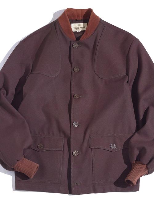 "1970s ""ZERO KING"" polyester twill shooting jacket -BROWN-"