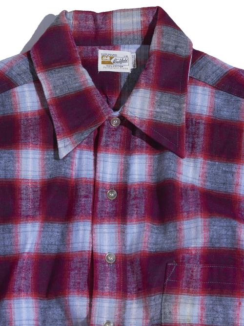 "1960s ""Berkfield"" print flannel check shirt -RED-"