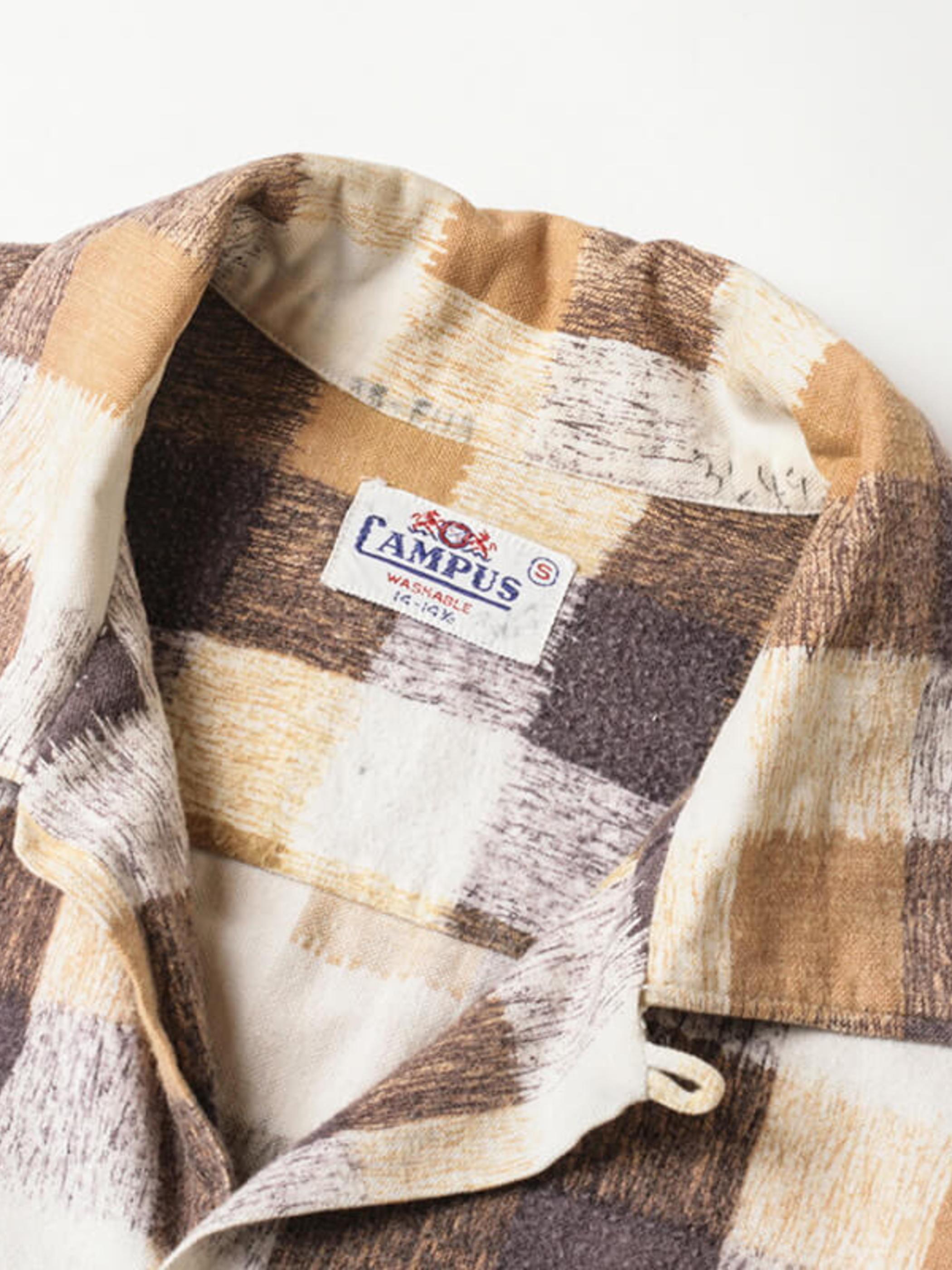 Campus / 1960'sVintage / Open Collar Print Flannel Shirt