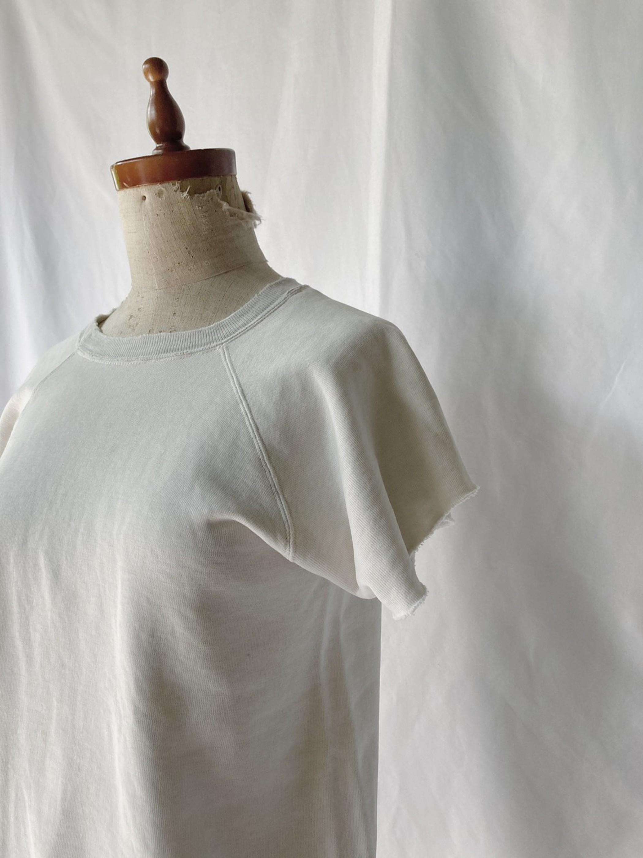 vintage short sleeve sweat shirt (ivory×gray)