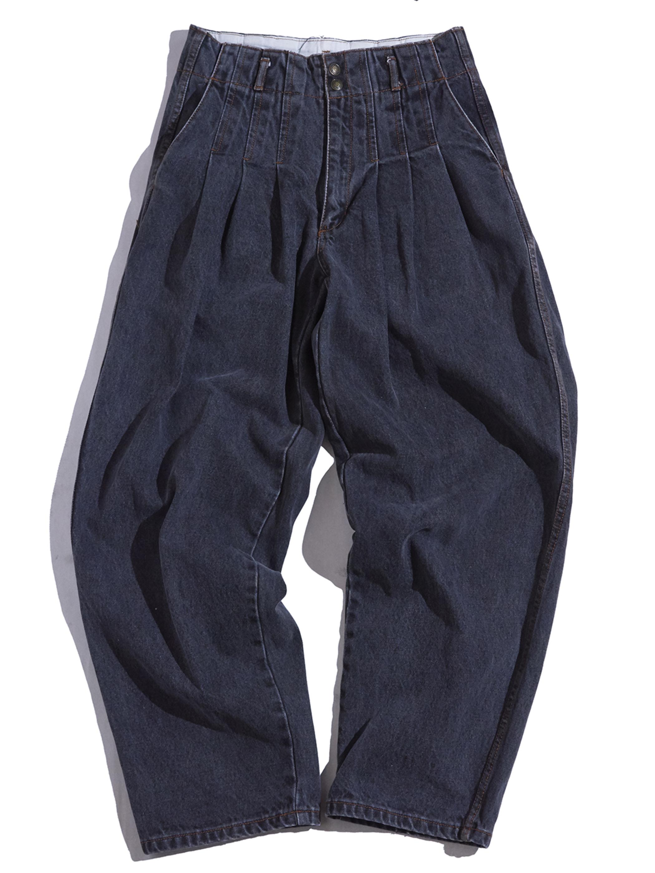 "1980-90s ""THE GREAT PLAINS"" 3tuck denim pants -FADE BLACK-"