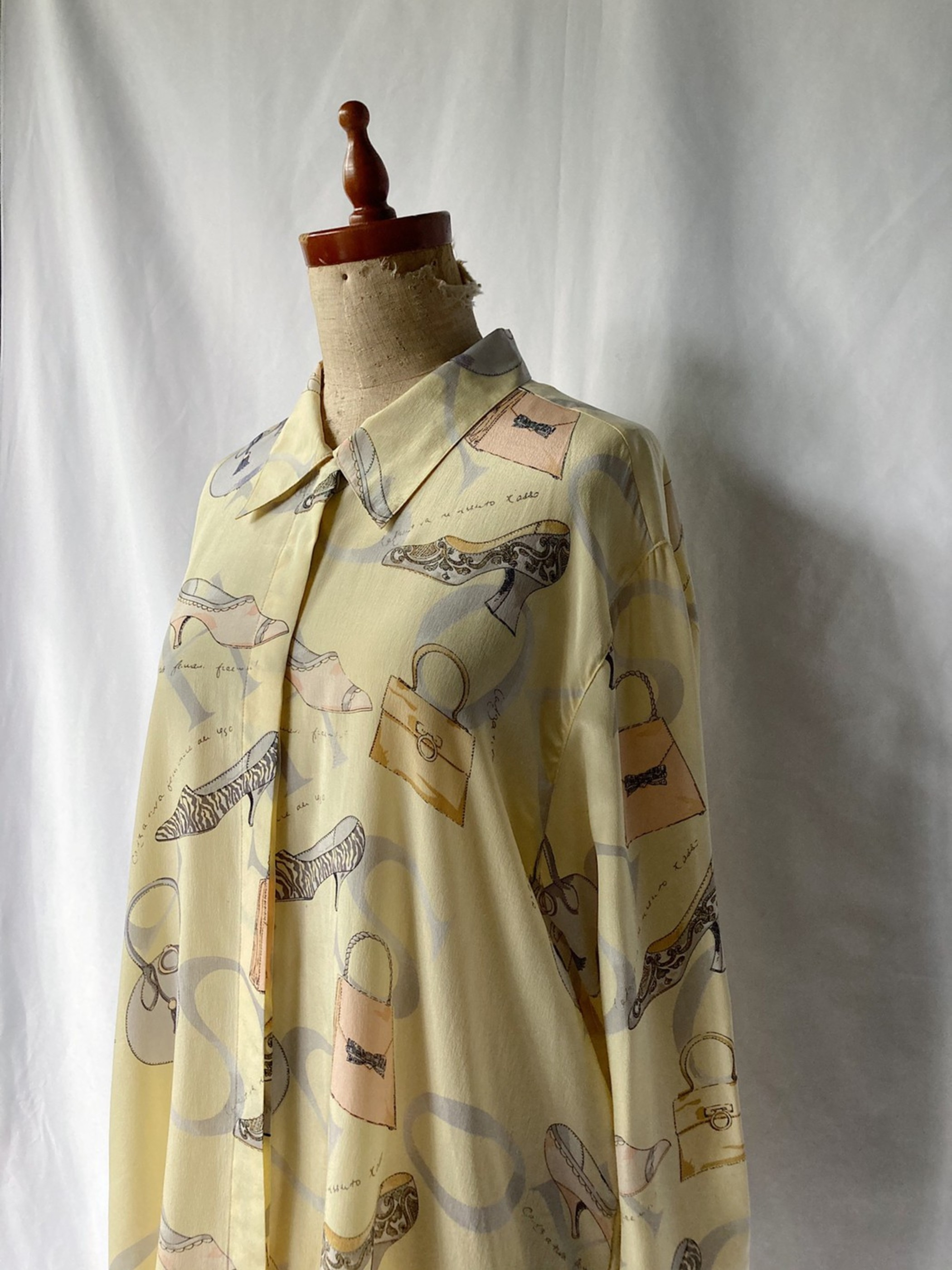 fly front silk shirt