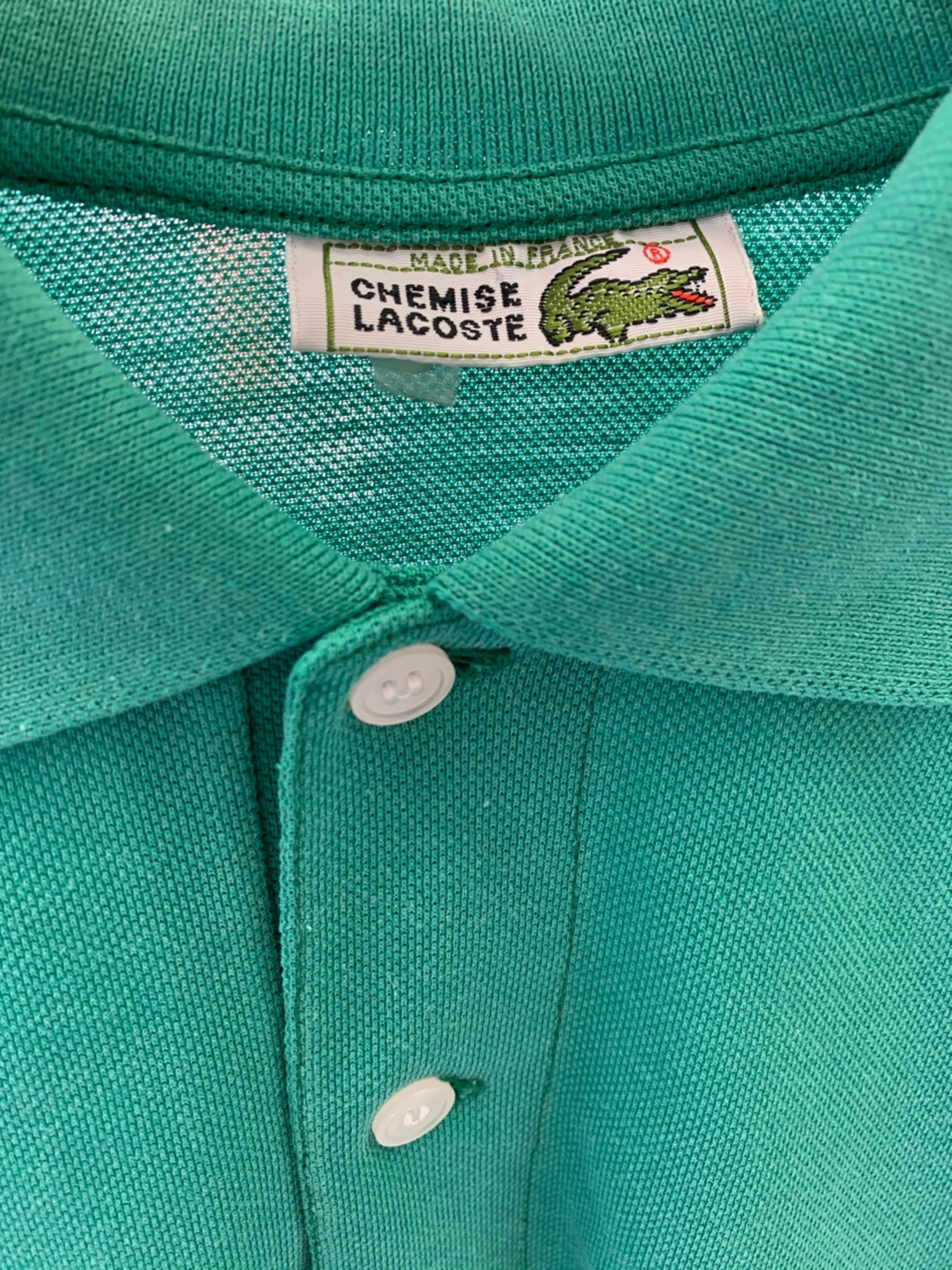 French Lacoste polo shirt green color made in France