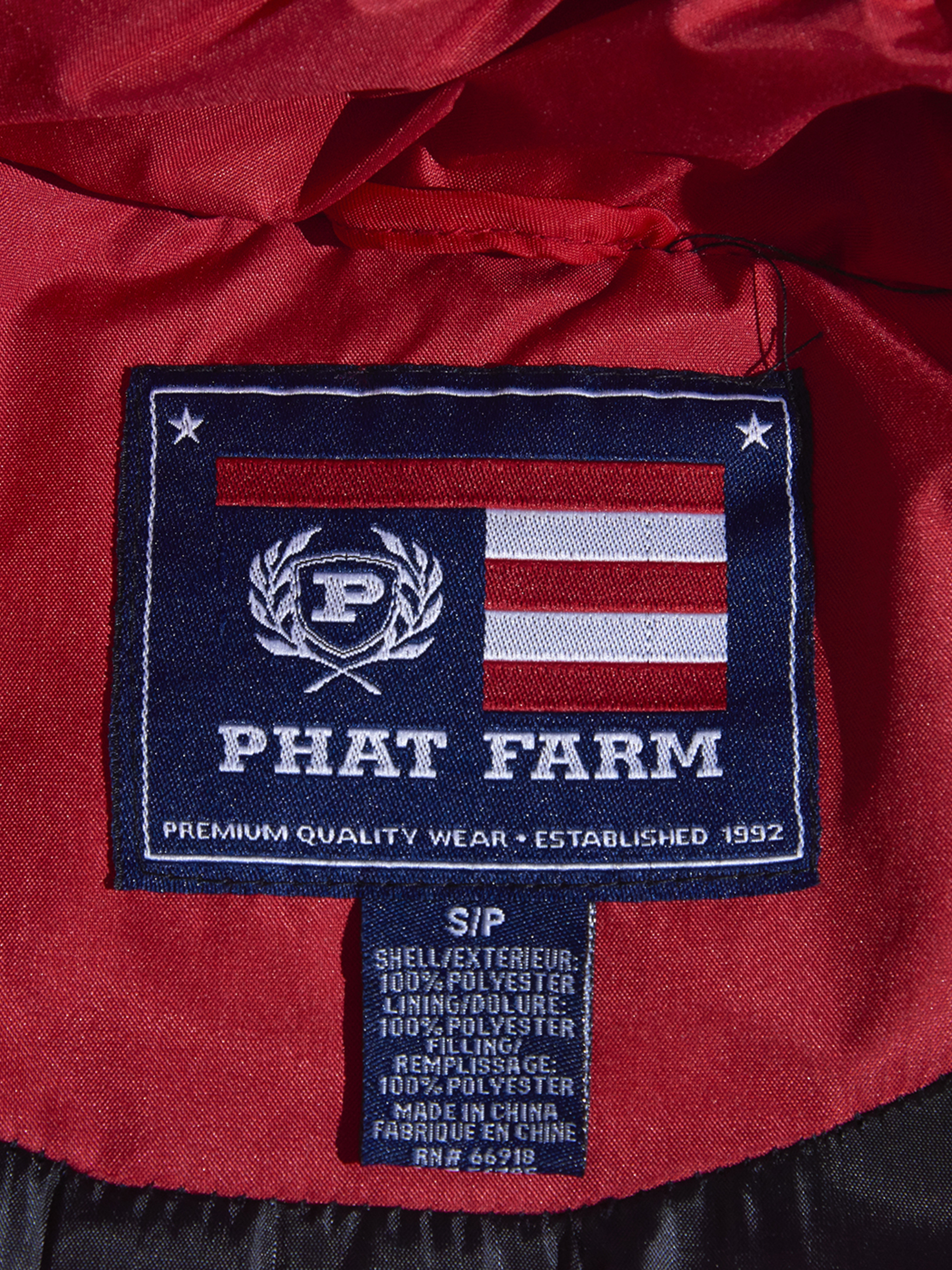 "1990s ""PHAT FARM"" down vest -RED-"