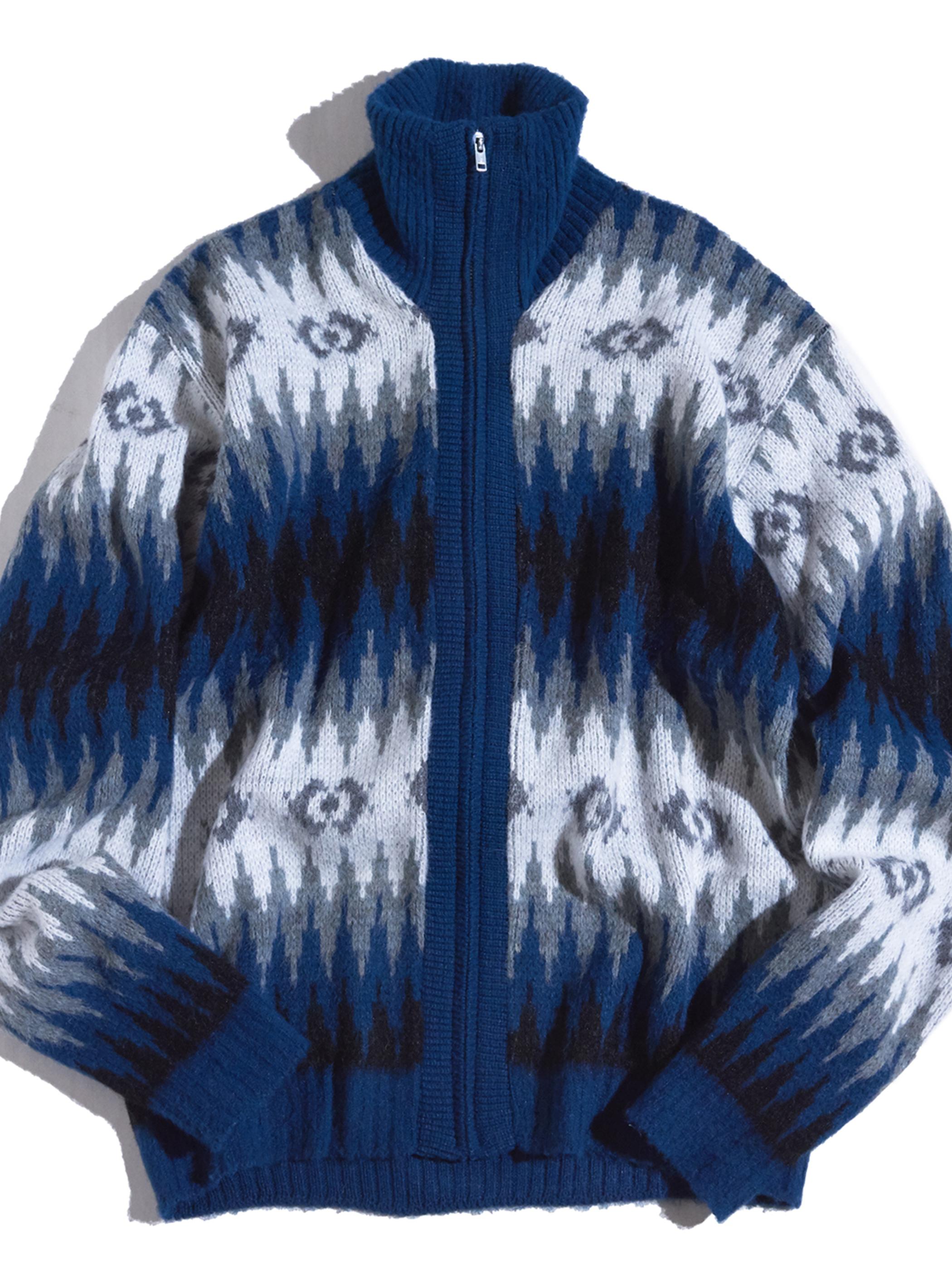 "1970s ""BASKIN"" acrylic nordik pattern high neck zip up knit -BLUE-"