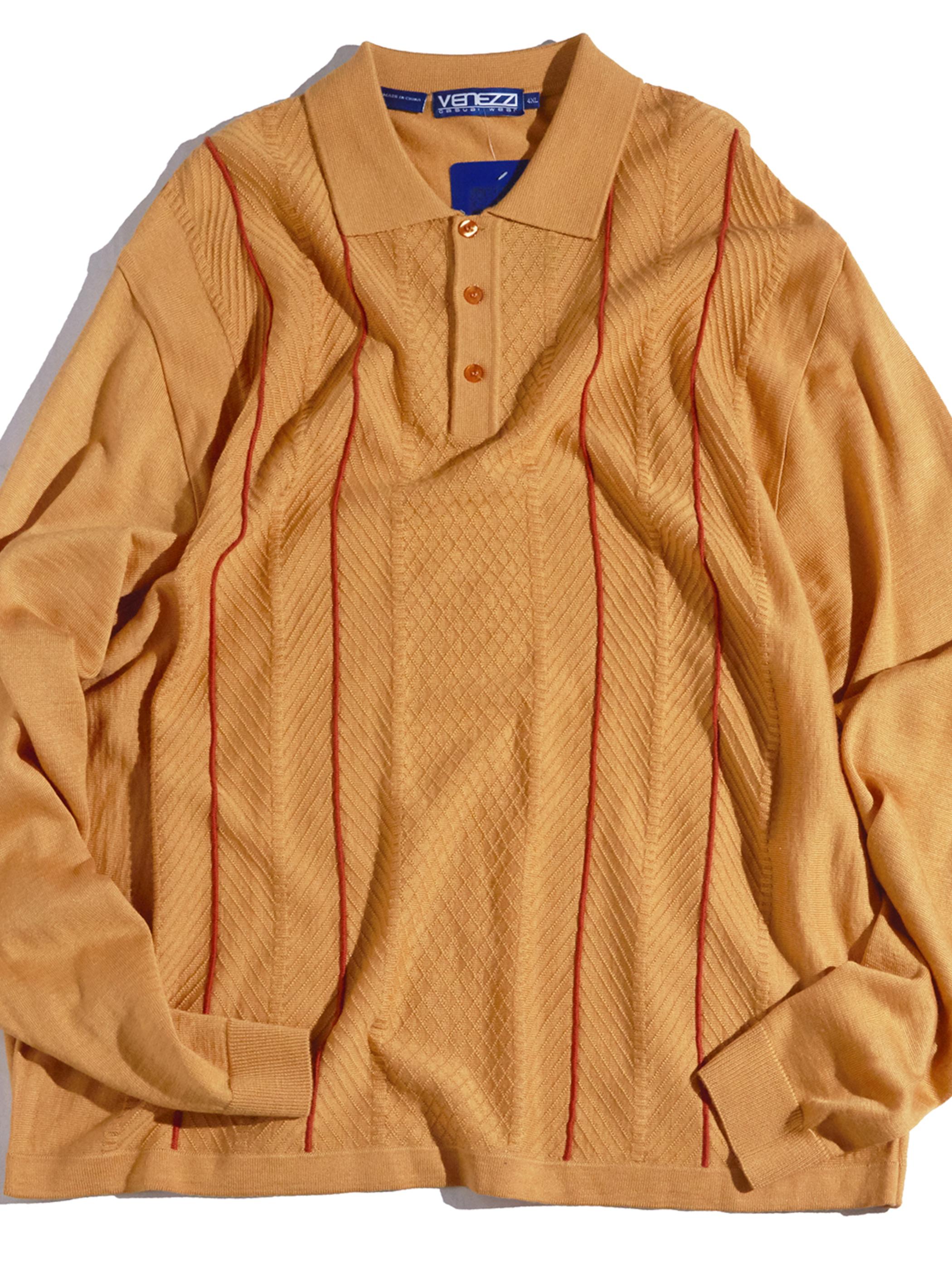 "NOS 1990s ""VENEZZI"" big size knit polo -ORANGE-"