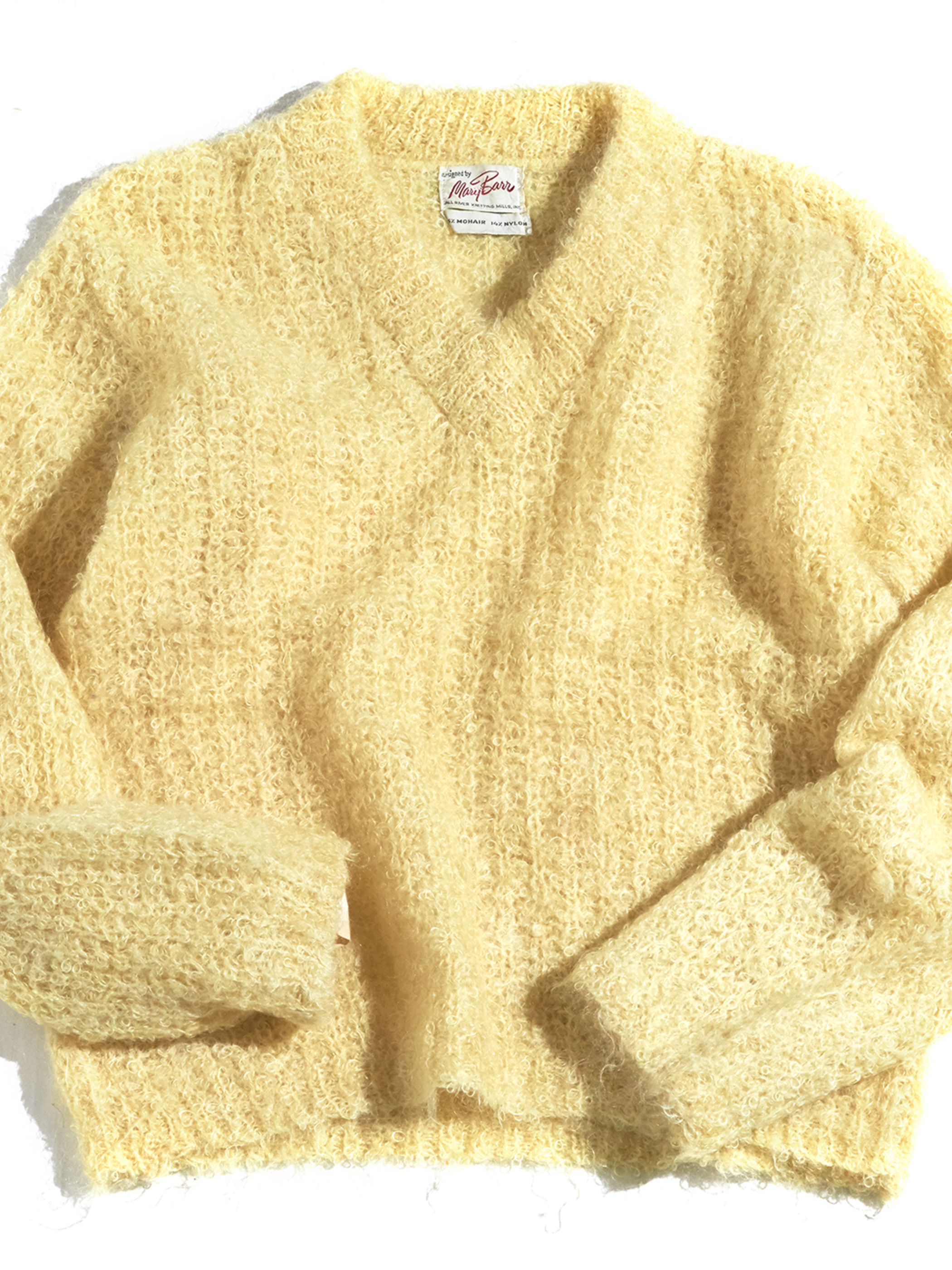 "1960s ""Many Bass"" poodle hair mohair knit -YELLOW- <SALE¥16000→¥12000>"