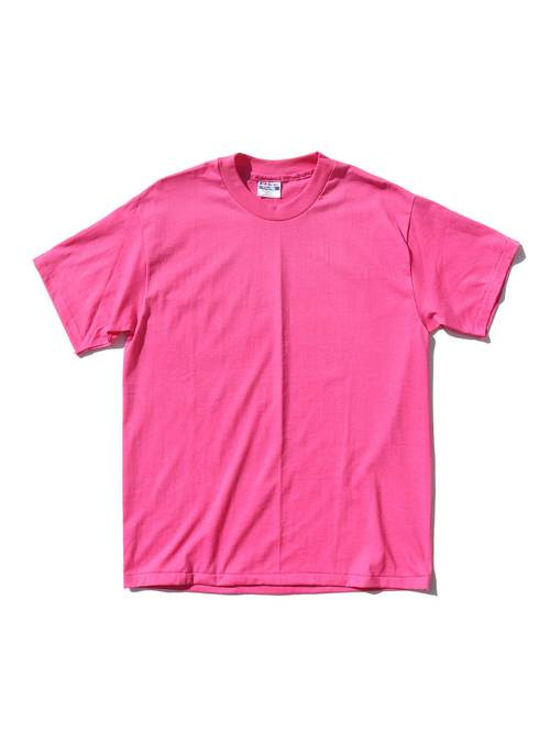 80's HANES Pink Blank T-Shirt Made In U.S.A. [L]