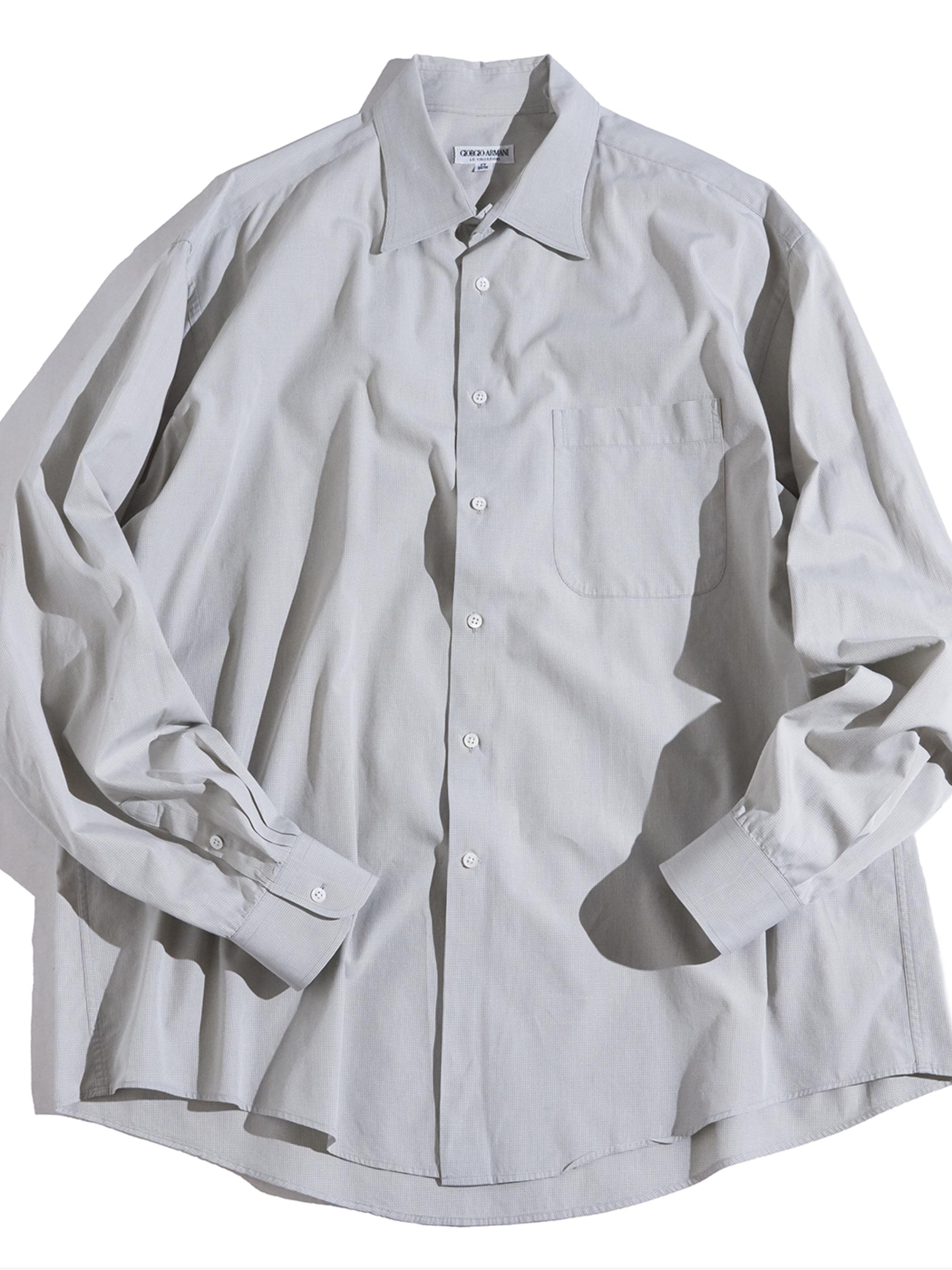 "1980s "" GIORGIO ARMANI"" check dress shirt -GREY-"