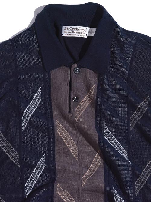 "1990s ""St.croix"" s/s pattern knit polo -BLACK-"