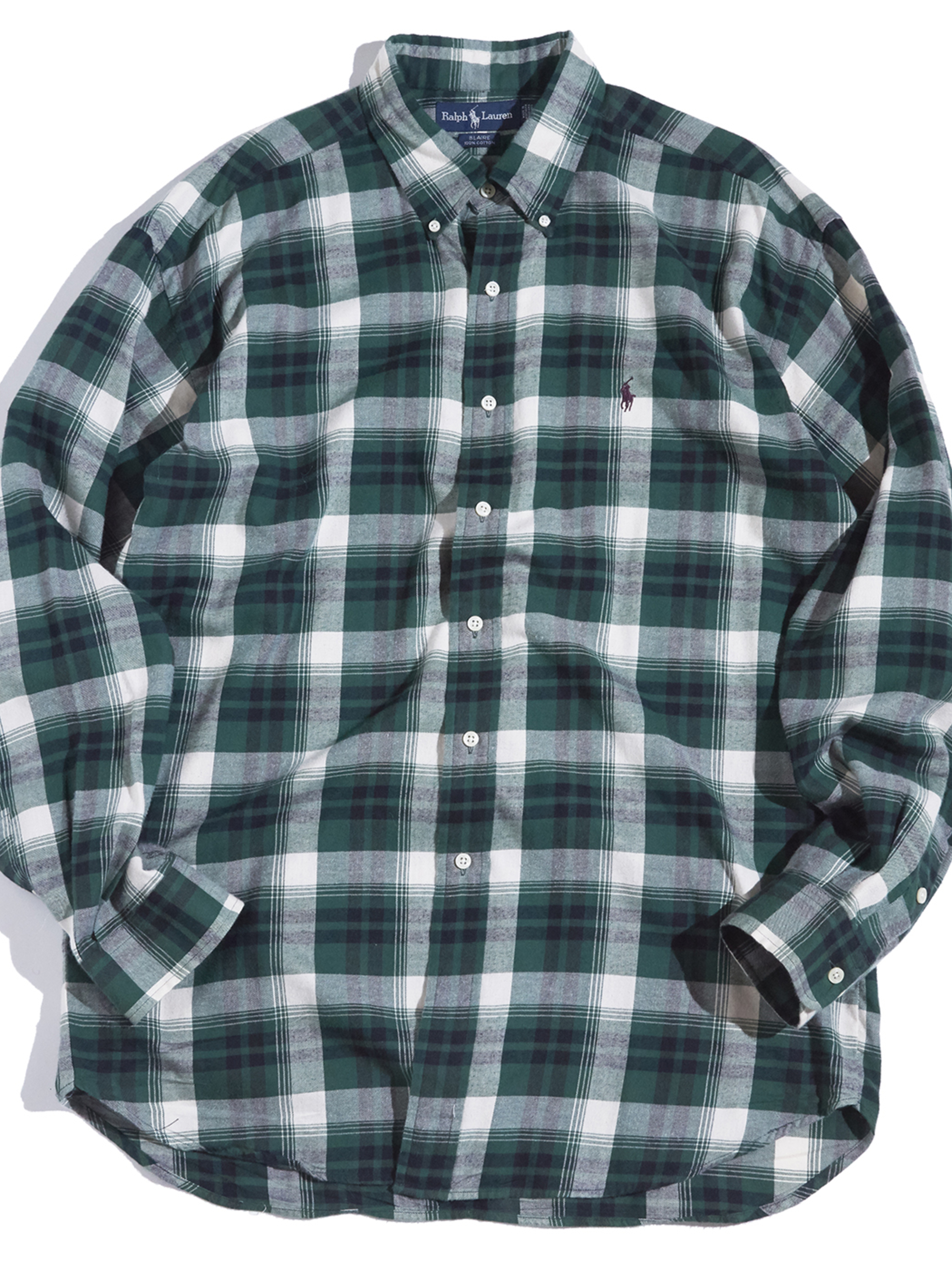 "1990s ""Ralph Lauren"" BLAIRE cotton check B.D shirt -GREEN-"