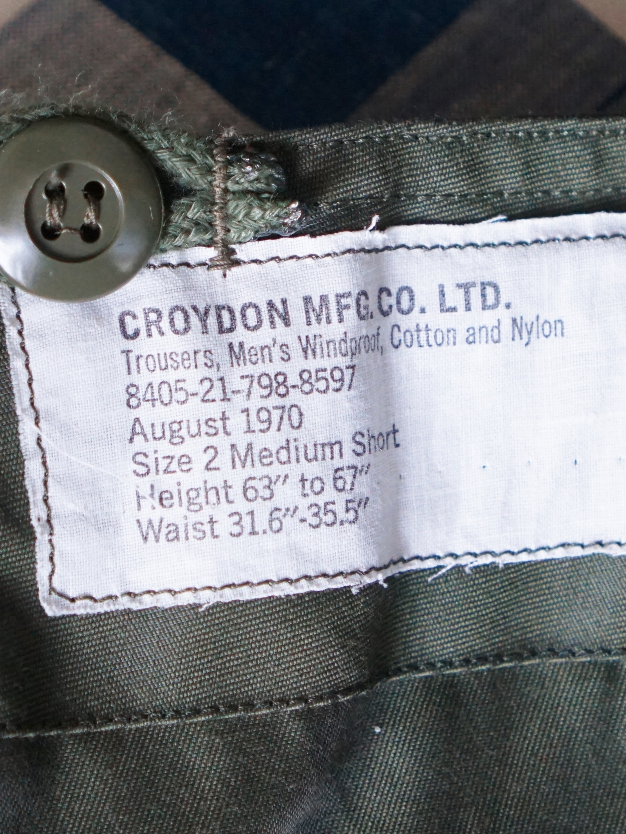 70's Canadian Army Over Trousers Dead Stock