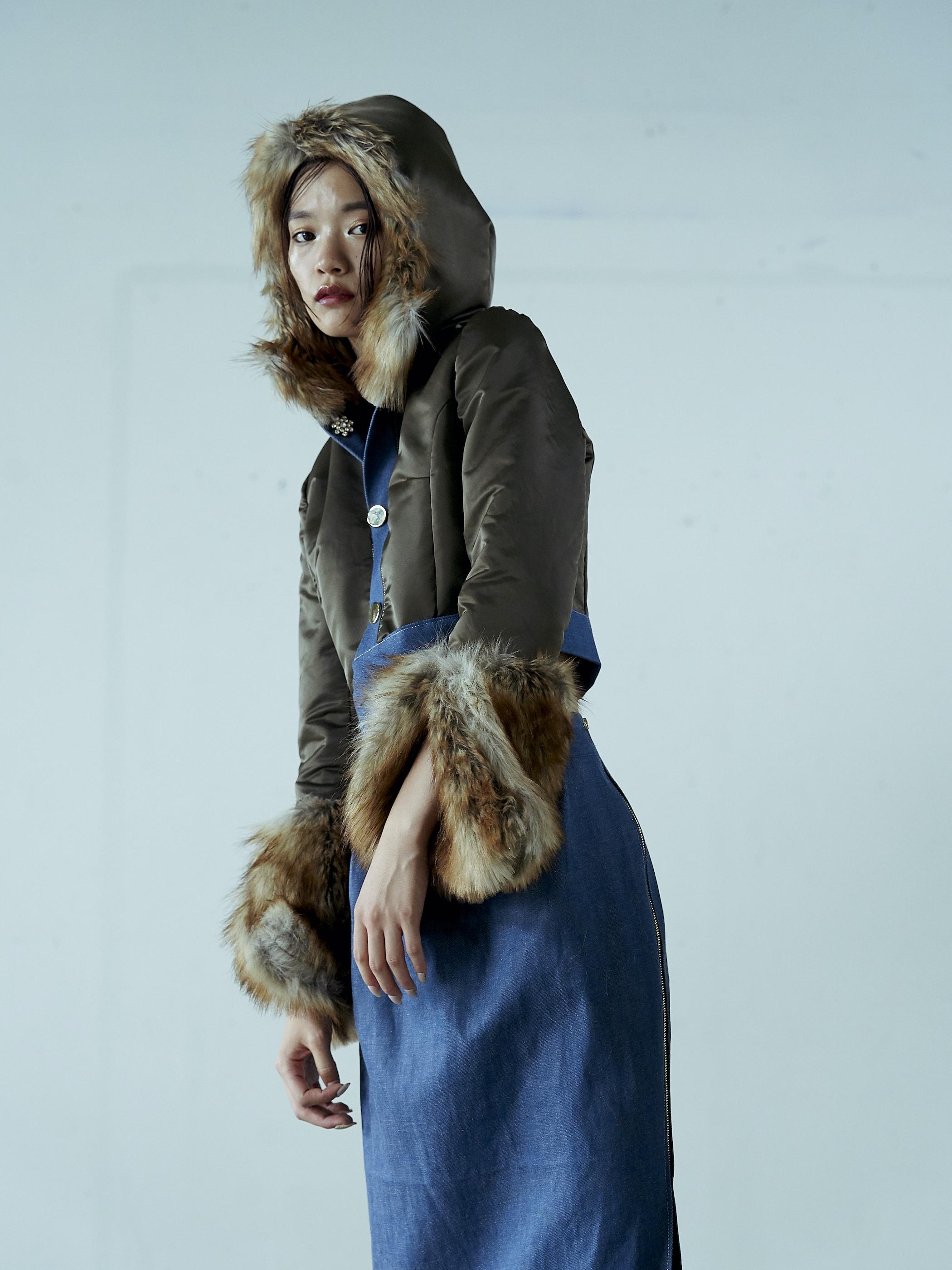 2020Winter Denim Nylon Fur Reversible Jacket