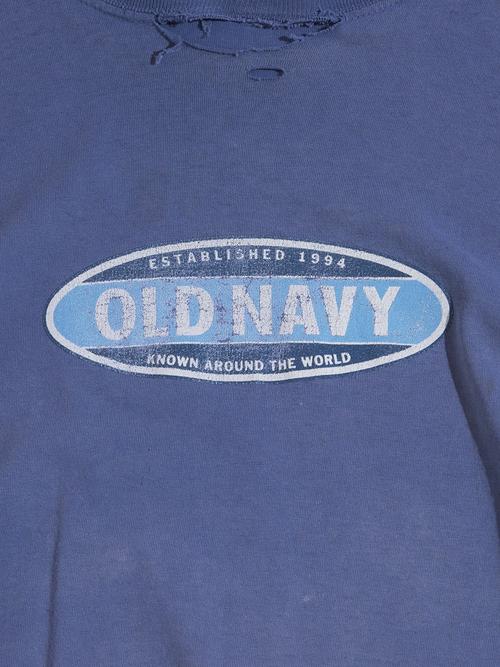 "Late 1990s ""OLD NAVY"" print tee boro -FADE NAVY-"