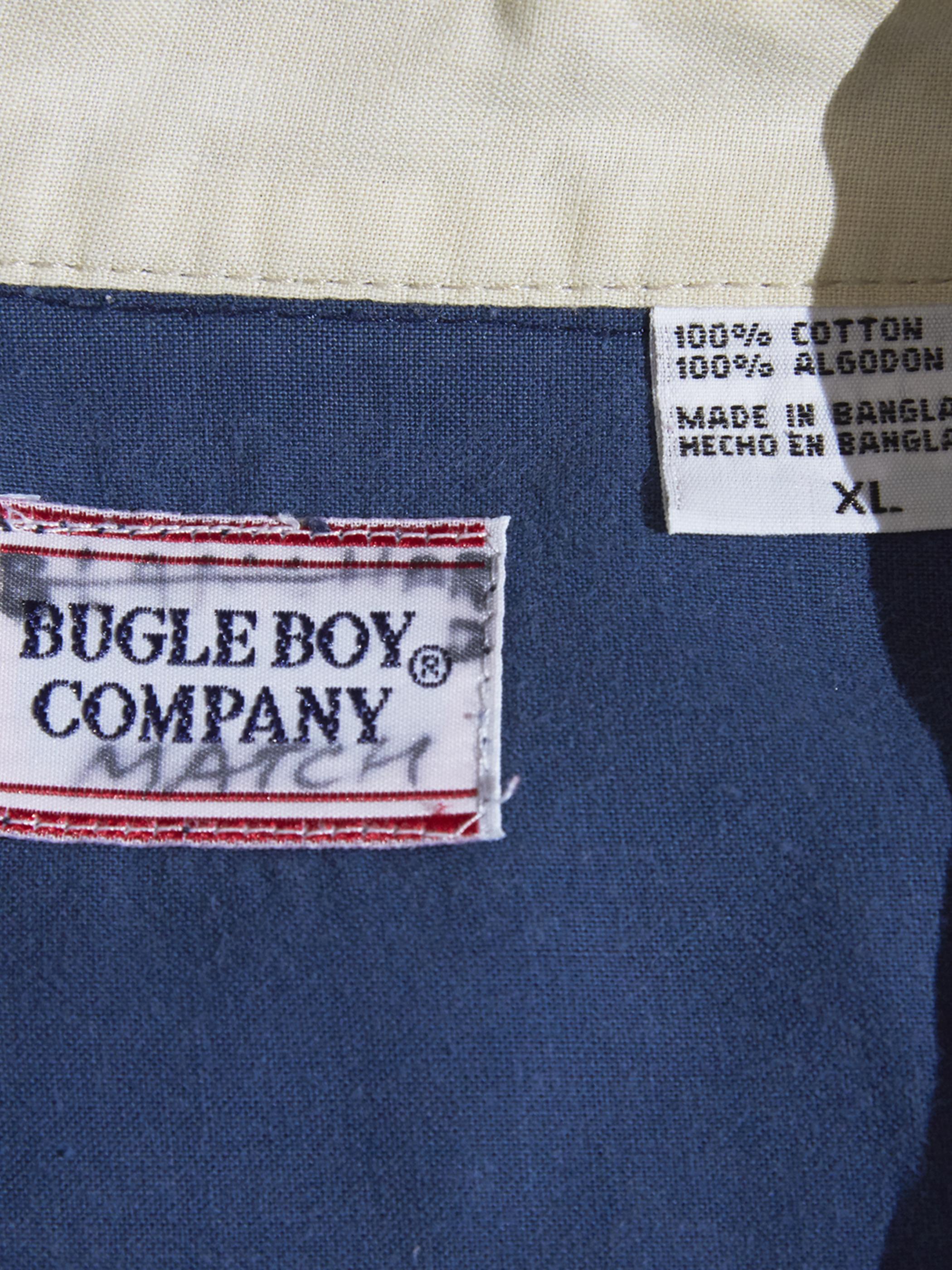 "1990s ""BUGLE BOY"" s/s B.D. pattern shirt -NAVY-"