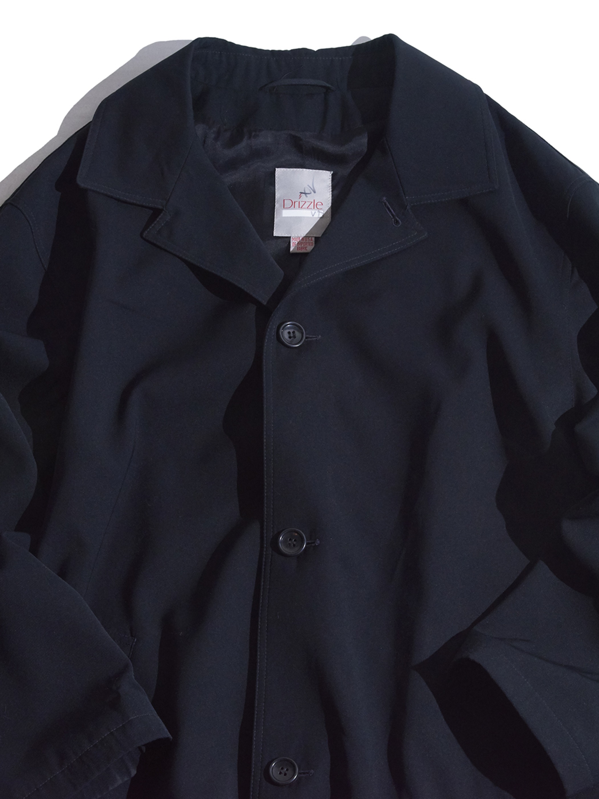 "1980s ""Drizzle"" bal collar over coat -BLACK-"