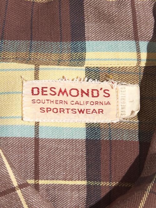 """1940s """"DESMOND'S"""" rayon check shirt -CHECK- <SALE¥18750→¥15000>"""