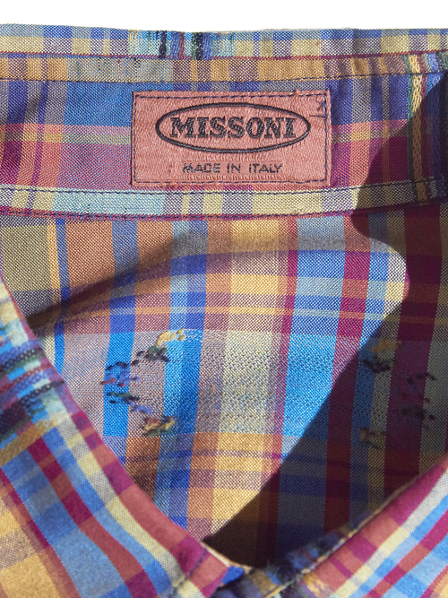 "1980s ""MISSONI"" cotton check shirt -MULTI-"