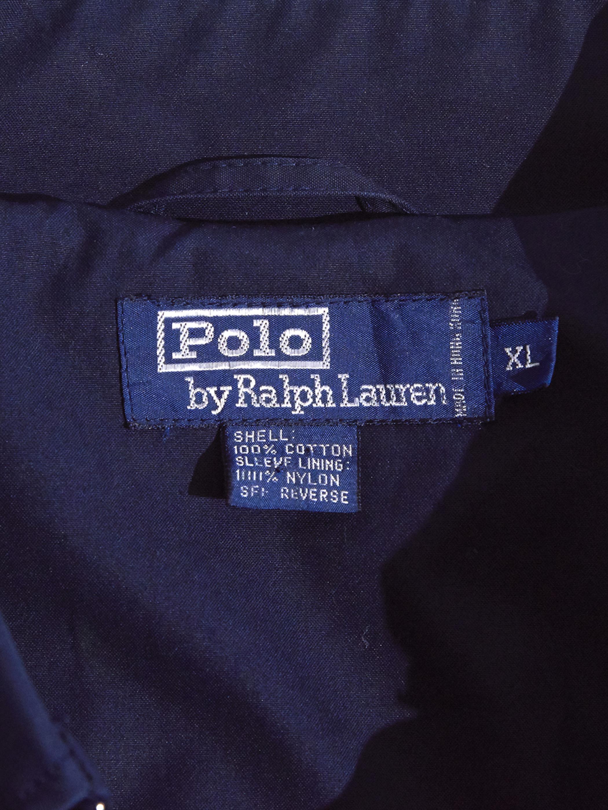 "1990s ""POLO by Ralph Lauren"" 1panel sleeve trench collar coat -NAVY-"