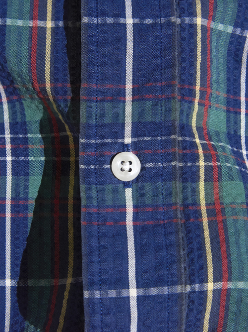 "1990s ""Ralph Lauren"" L/S seersucker check shirt -GREEN-"