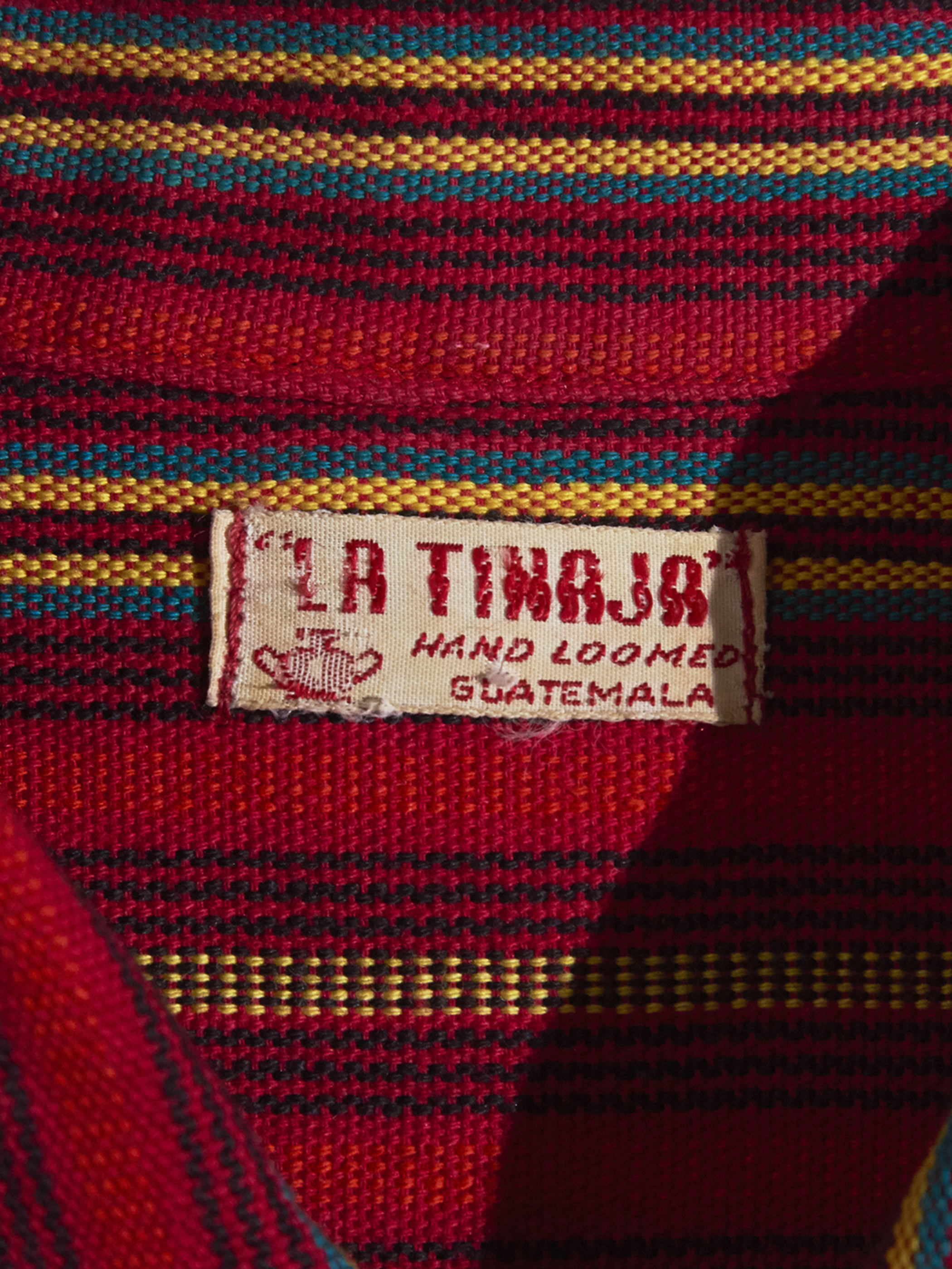 """1970s """"LA TINAJA"""" guatemala dress shirt -RED-"""