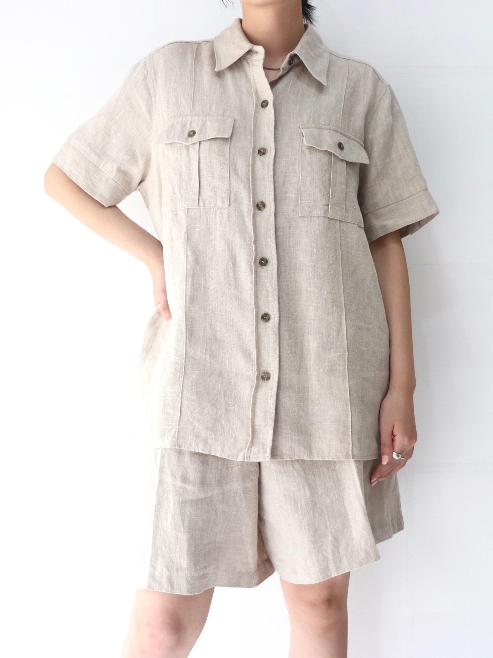 Linen S/S shirt & shorts setup