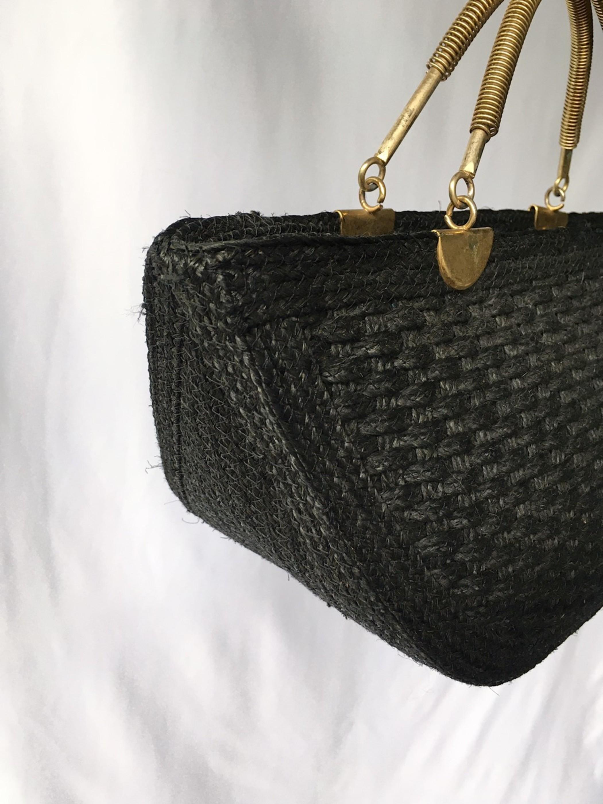 vintag straw hand bag