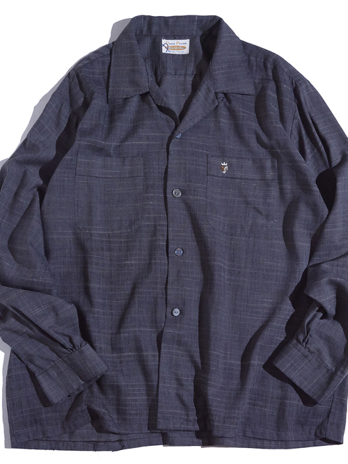 """1960s """"unknown"""" rayon/poly border shirt -CHACOAL-"""