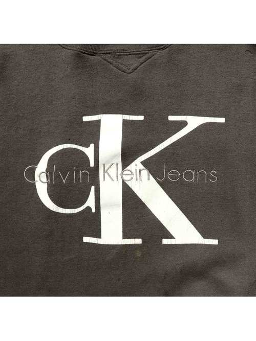 90's CALVIN KLEIN JEANS クルーネックスウェット チャコール [L]