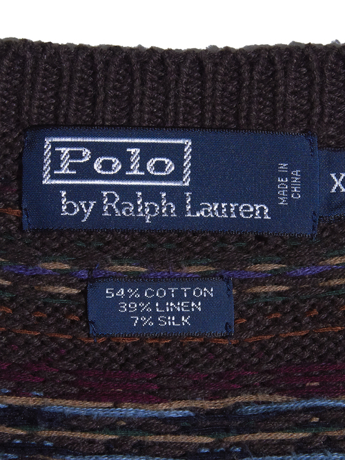 "1990s ""POLO by Ralph Lauren"" big size pattern knit vest -BROWN-"