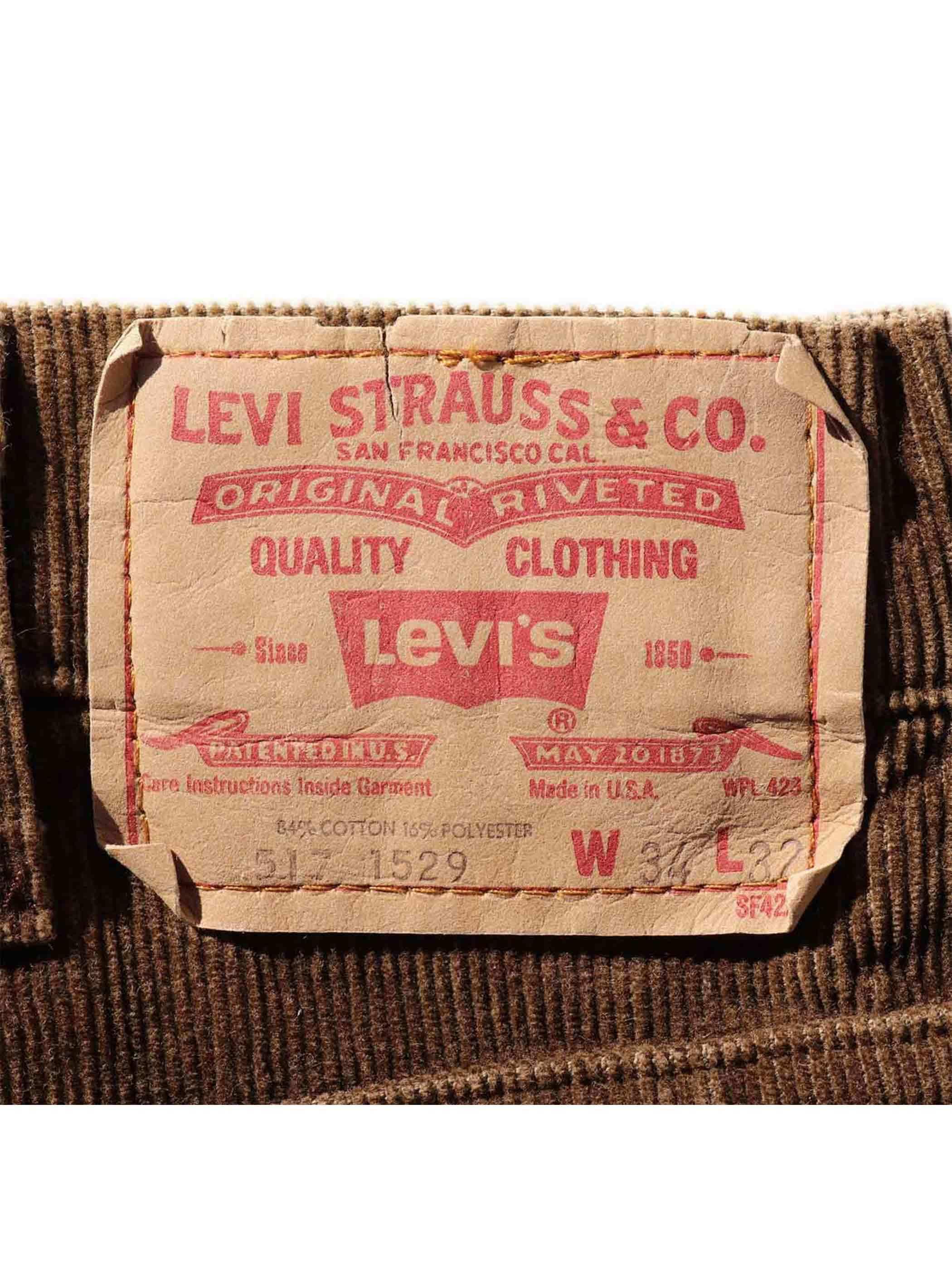 80's LEVI'S 517 USA製 ブラウン コーデュロイ フレアパンツ [34]