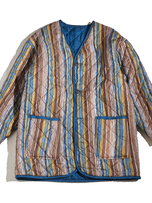 "1990s ""unknown"" reversible quilting jacket -MULTI STRIPE&TURQUOISE-"