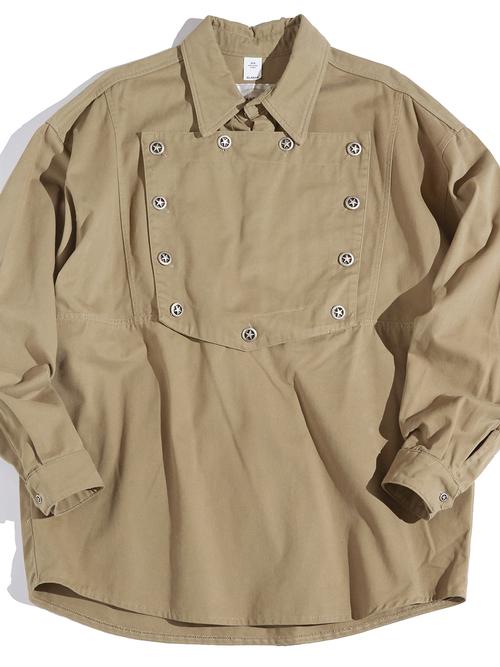 """1990s """"BRASSADA"""" bib front shirt -BEIGE-"""