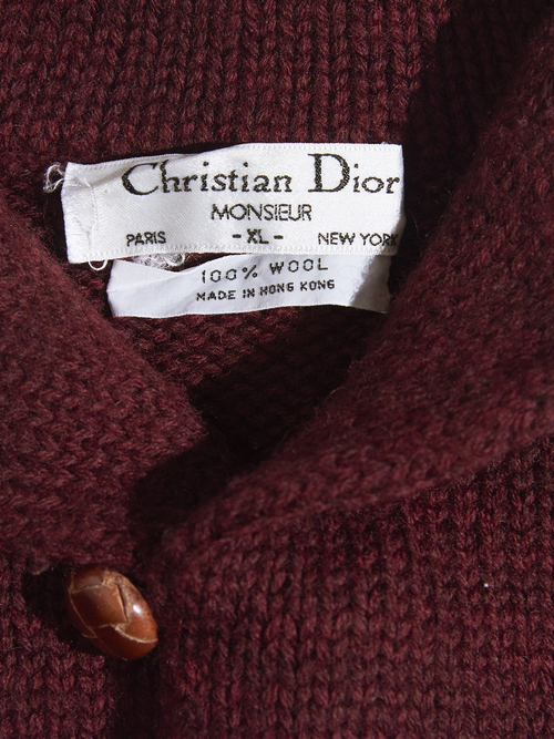 "1980s ""Christian Dior"" shawl collar wool knit -BURGANDY-"