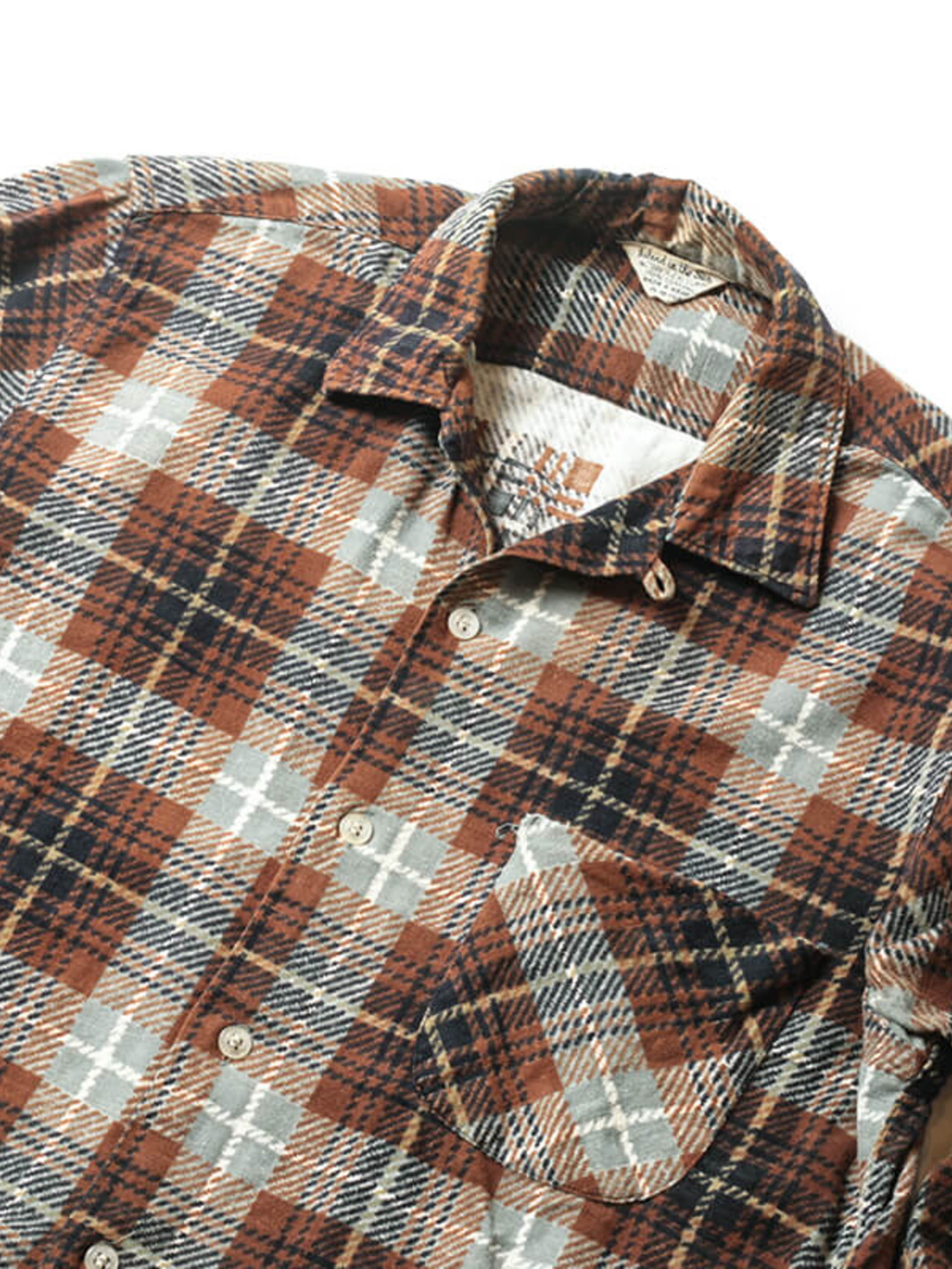 Island in the Sun / 1960'sVintage / Open Collar Print Flannel Shirt