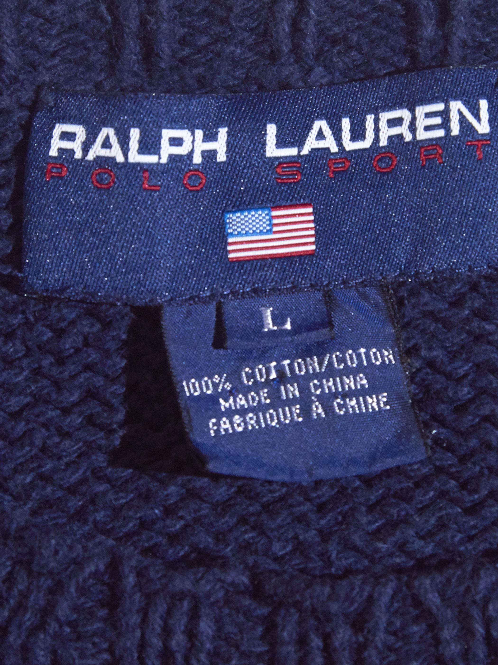 """1990s """"POLO SPORT"""" stars & stripes cotton knit -NAVY-"""
