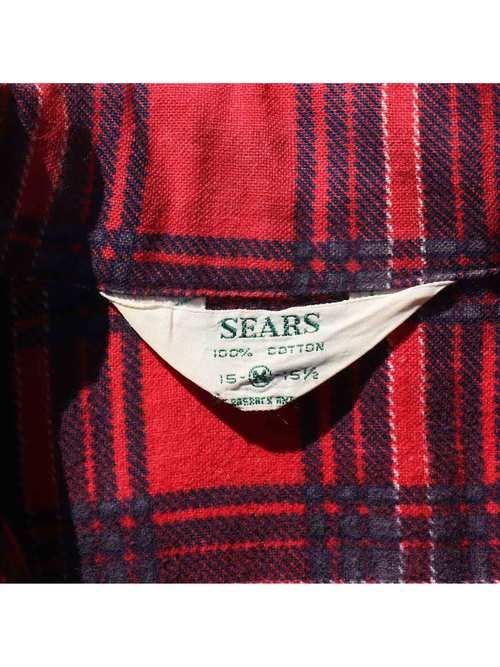 60's~ SEARS オープンカラー プリントフランネルシャツ [15-1/2]