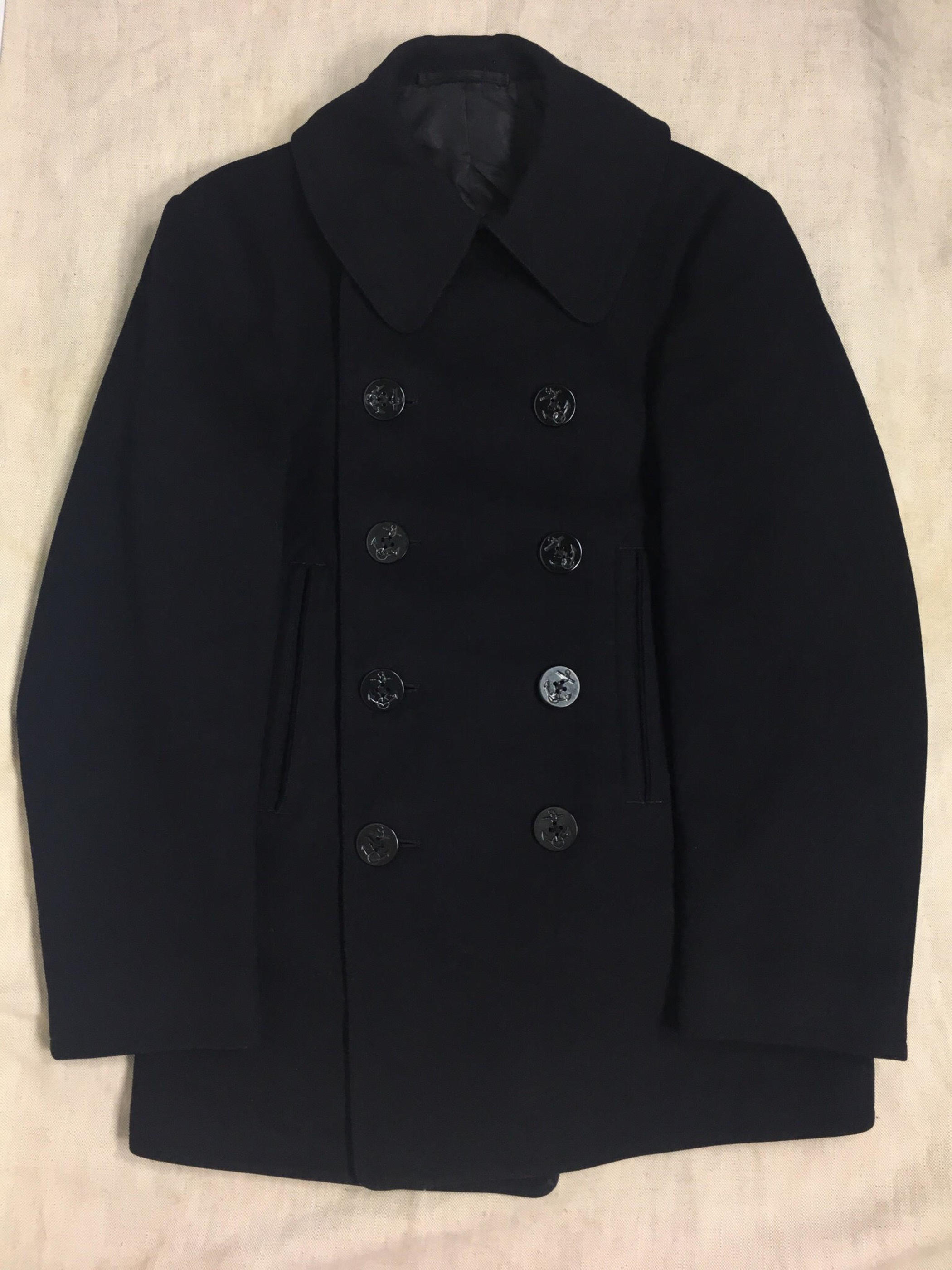 40's U.S NAVY Vintage 10 Botton P-coat  U.SネイビーPコート[size34]