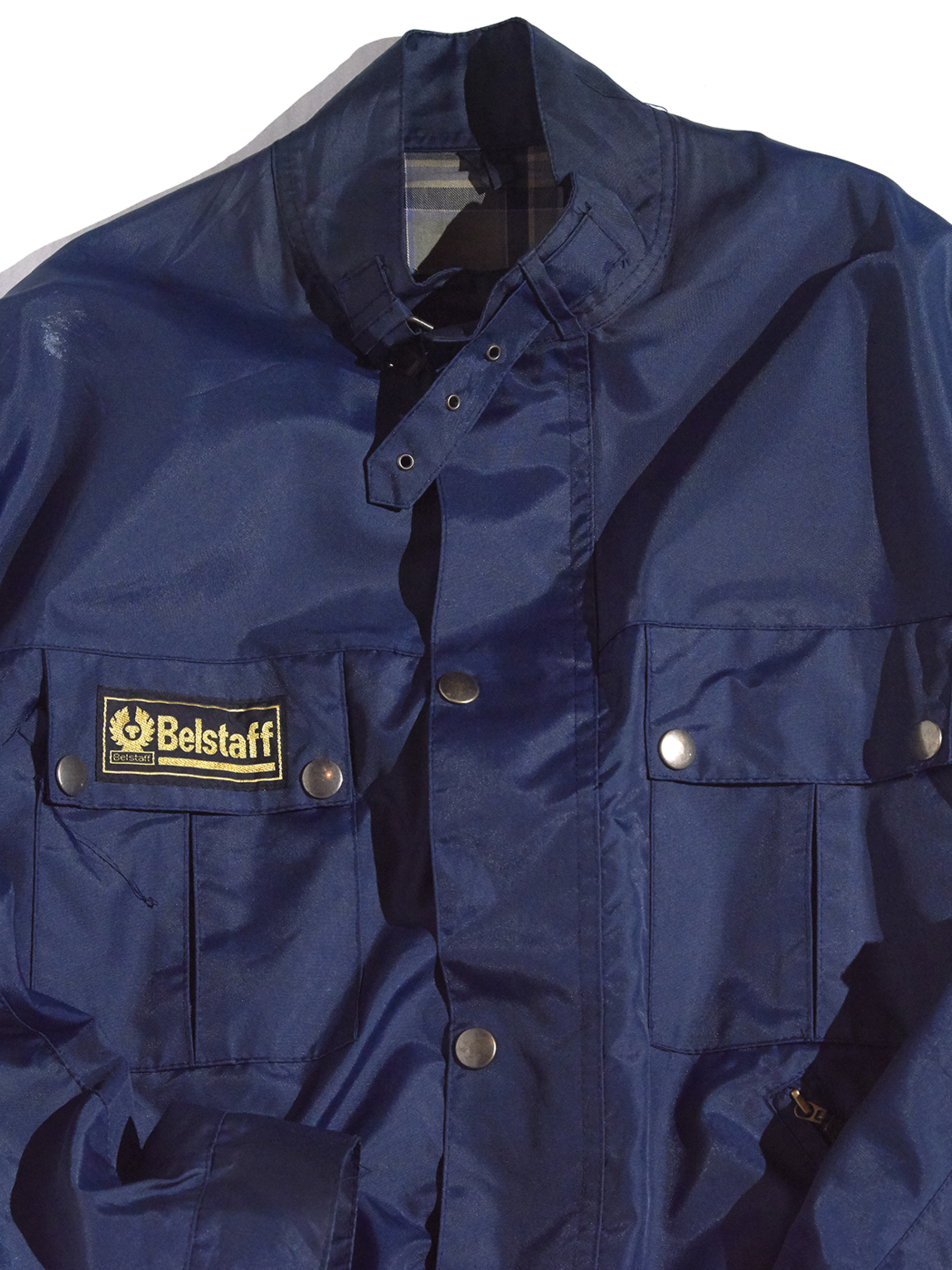 "1990s ""Belstaff"" short length mortorcycle nylon jacket -NAVY- <SALE¥16000→¥12800>"