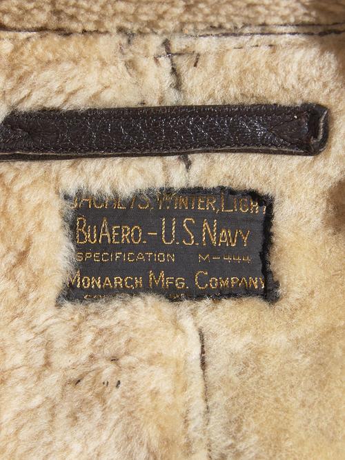 "1930s ""US NAVY"" M-444 mouton flight jacket -BROWN-"