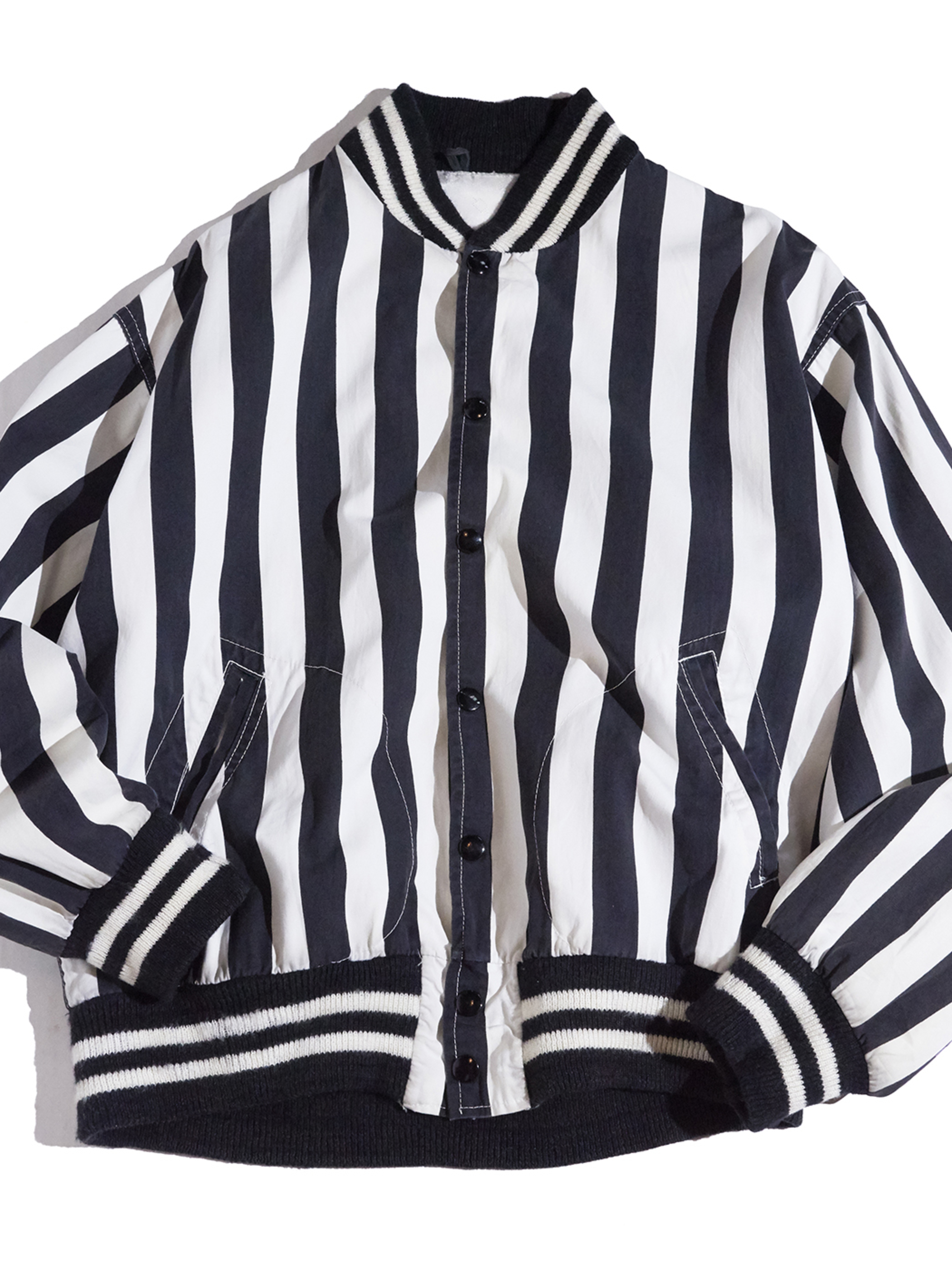 "1960s ""unknown"" referee stripe jacket -WHITE×BLACK-"