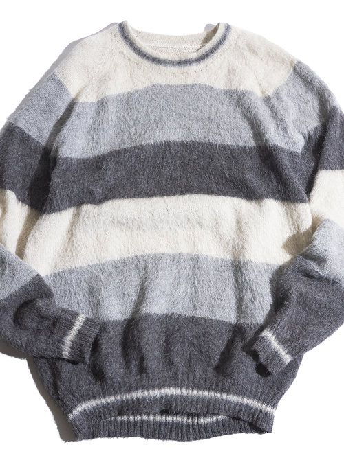 """1980s """"unknown"""" border mohair knit -GRAY/WHITE/CHARCOAL-"""