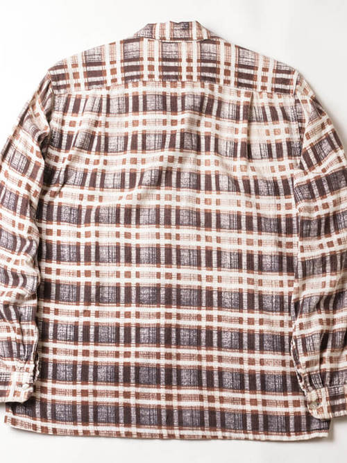 Custom Needle / 1960'sVintage / Open Collar Print Flannel Shirt