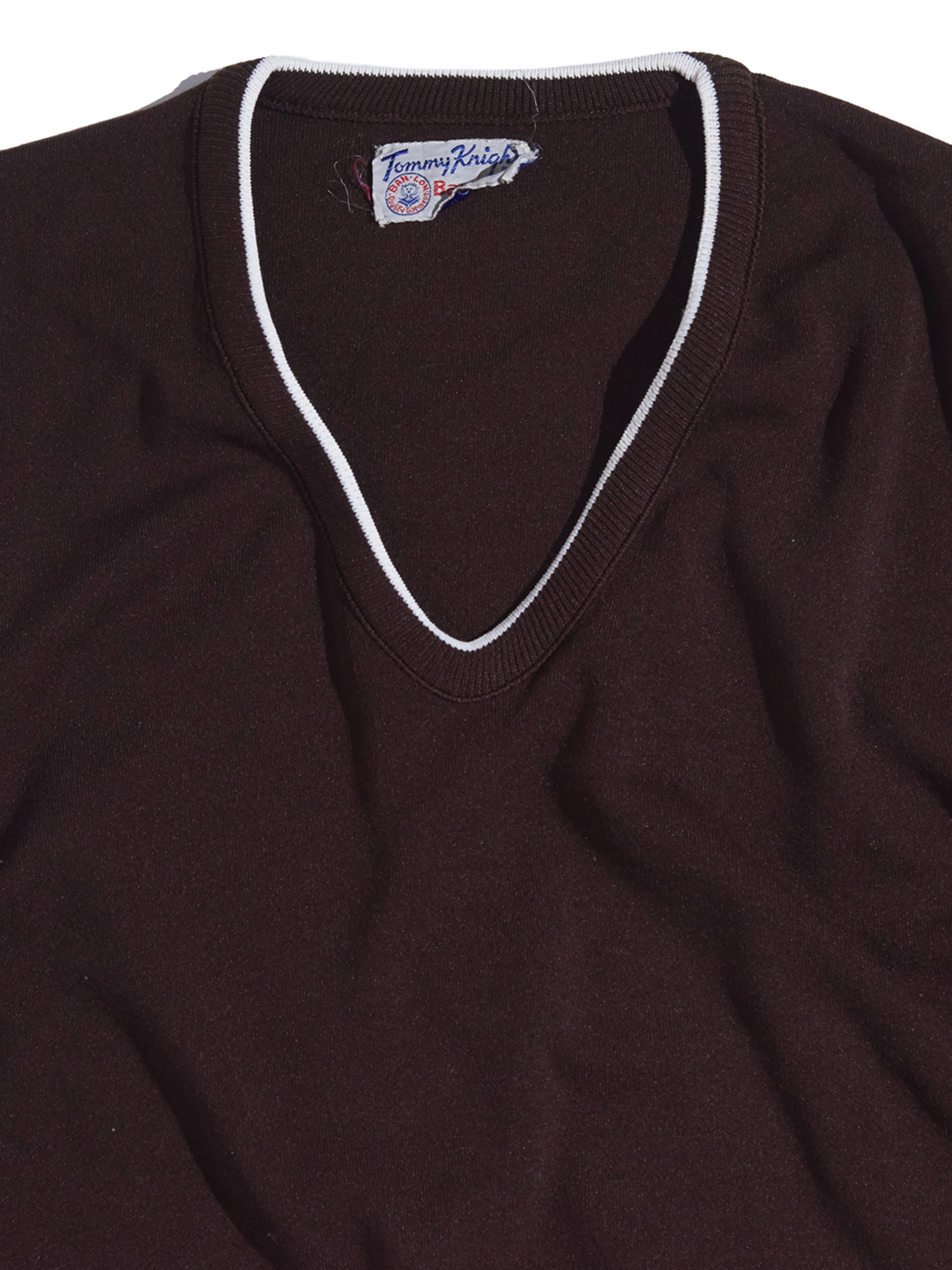 """1970s """"Tommy Knight"""" V neck Ban-Lon®︎ knit -BROWN-"""