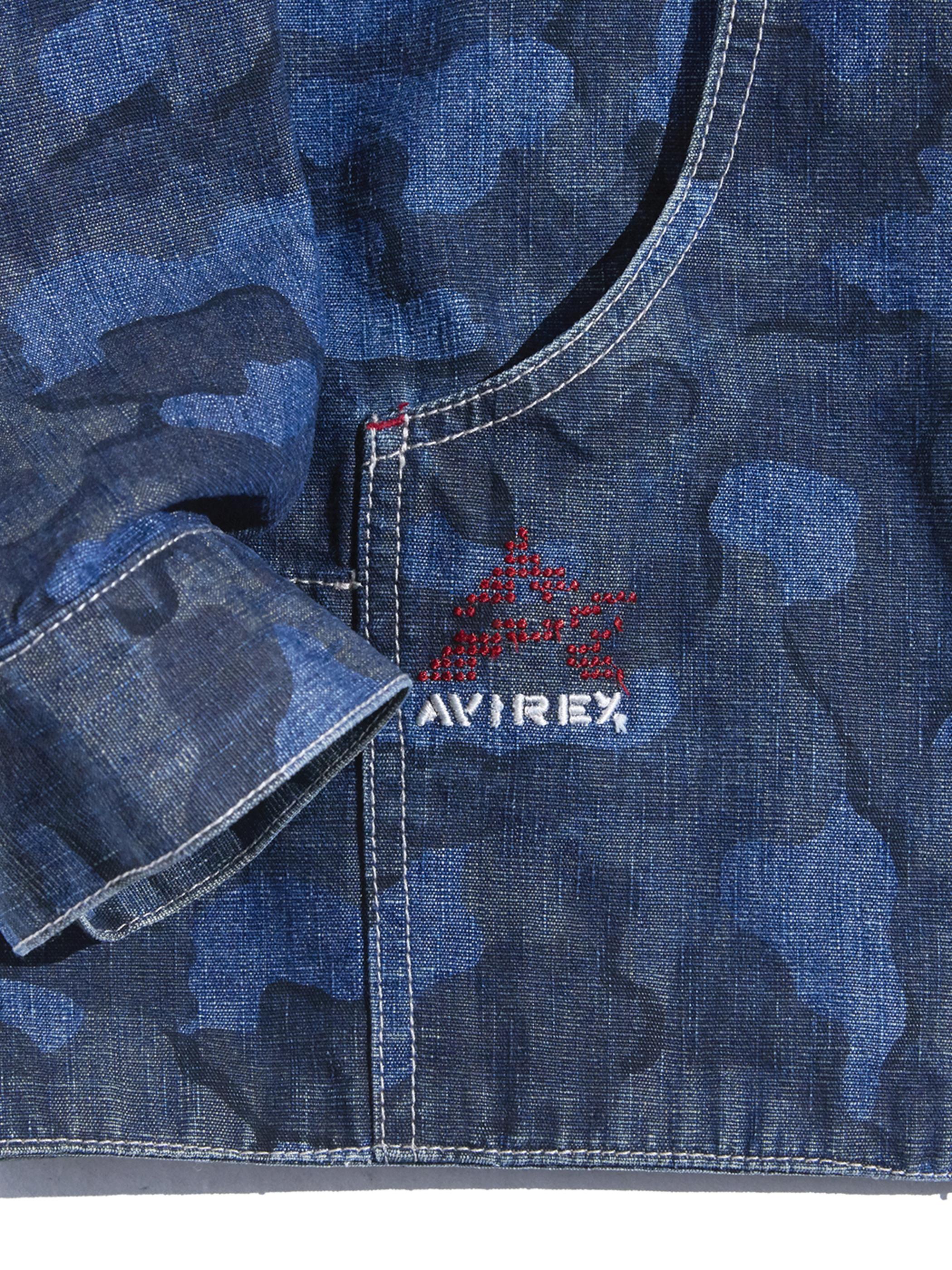 """1990s """"AVIREX"""" denim camouflage hooded jacket -INDIGO-"""