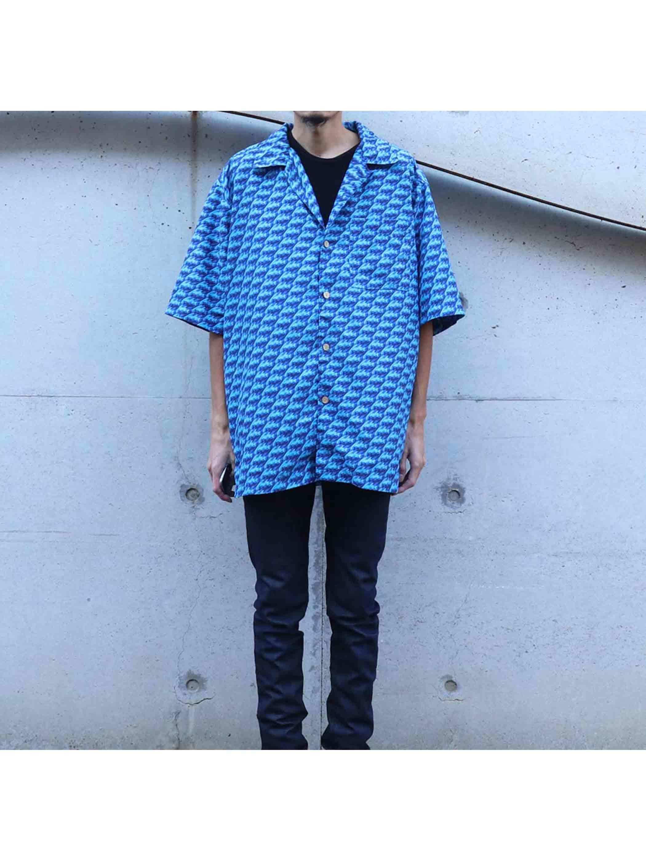 90's FUBU ロゴ総柄 オープンカラーシャツ [M]
